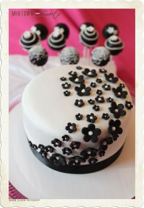 Modern Black & White Cake & Cake Pops