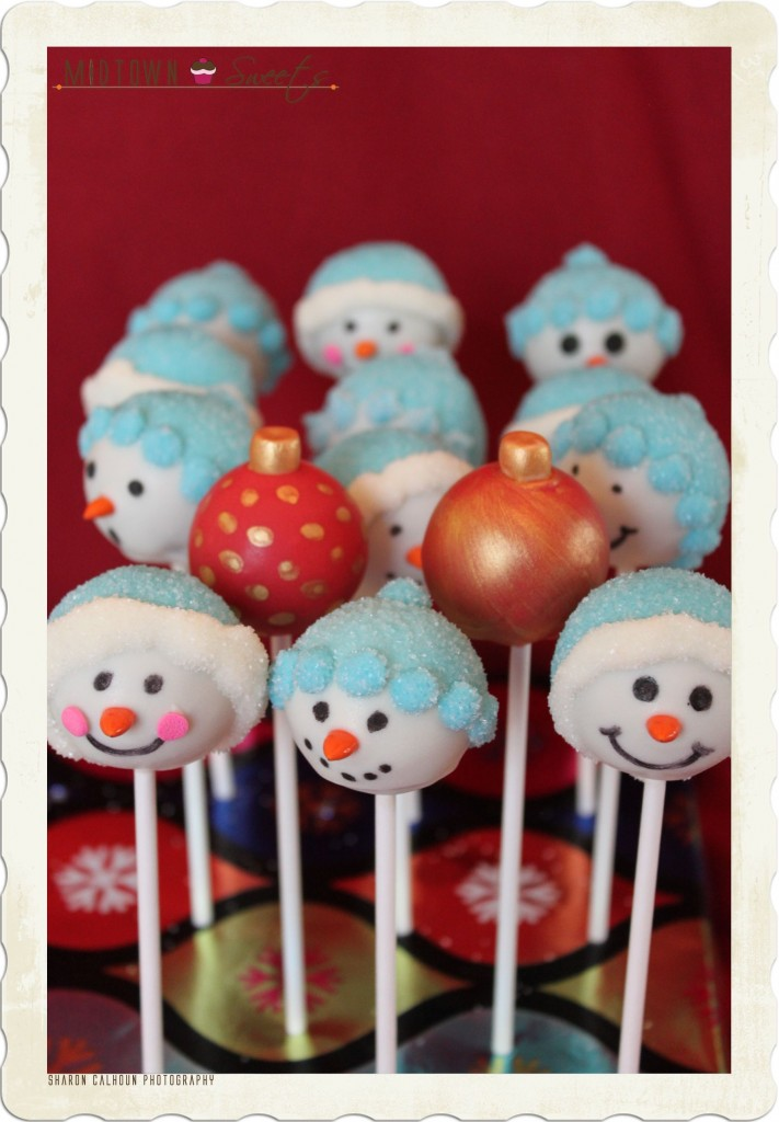 Snowman Ornament Cake Pops